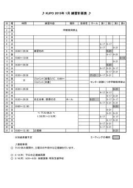 KUPO 2015年 1月 練習計画表