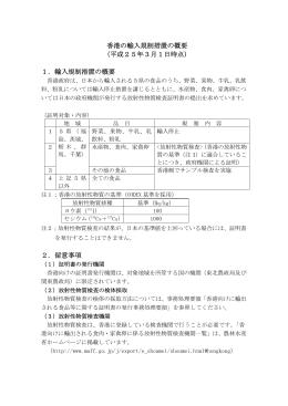 香港の輸入規制措置の概要