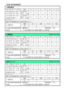 [玉造・鳴子温泉地域] 遊佐クリニック 佐藤医院 木幡診療所