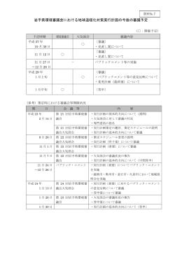 岩手県環境審議会における地球温暖化対策実行計画の今後の審議予定