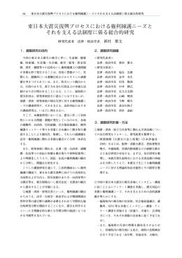 東日本大震災復興プロセスにおける権利擁護ニーズと それを支える法