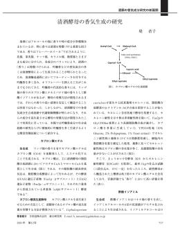 清酒酵母の香気生成の研究