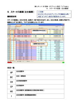 9. ステータス画面(注文履歴) AP BC CH CP HO I