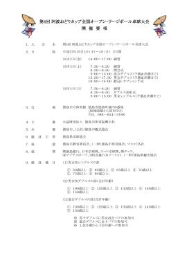 第4回 阿波おどりカップ全国オープン・ラージボール卓球大会 開 催 要 項