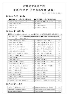 沖縄尚学高等学校 平成 27 年度 大学合格実績【速報】