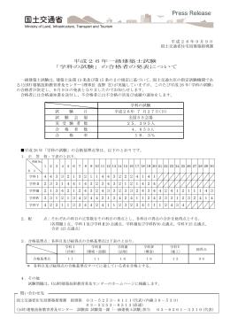 平成26年一級建築士試験 「学科の試験」の合格者の発表