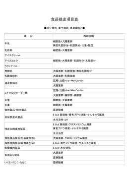 食品検査項目表