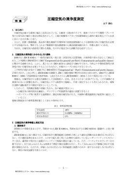 圧縮空気の清浄度測定 - 株式会社ユニケミー