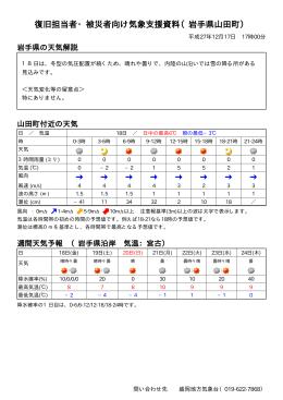 復旧担当者・被災者向け気象支援資料(岩手県山田町)