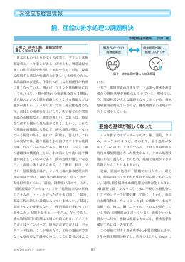 銅、亜鉛の排水処理の課題解決