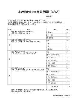 過活動膀胱症状質問票(OABSS)