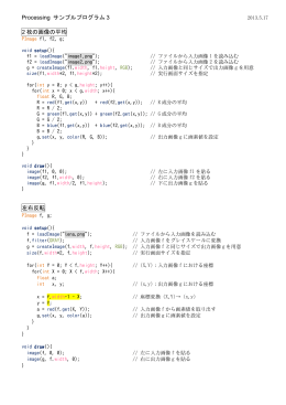 Processing サンプルプログラム 3 2 枚の画像の平均 左右反転