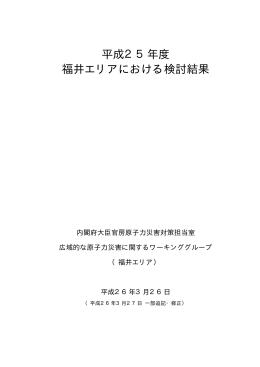 平成25年度 福井エリアにおける検討結果