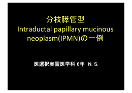分枝膵管型 Intraductal papillary mucinous neoplasm(IPMN)の一例