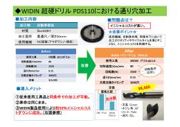 WIDIN 超硬ドリル PDS110における通り穴加工