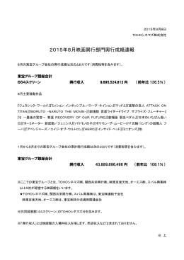 2015年8月映画興行部門興行成績速報