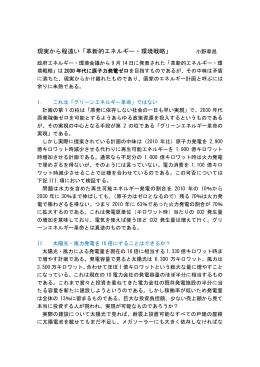 現実から程遠い「革新的エネルギー・環境戦略」 小野章昌