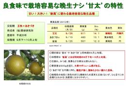 良食味で栽培容易な晩生ナシ`甘太`の特性