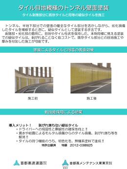 タイル目地模様のトンネル壁面塗装