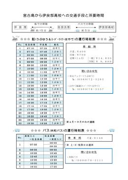 宮古島から伊良部高校への交通手段と所要時間 の交通手段と所要時間