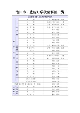 池田市・豊能町学校歯科医一覧