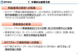利益重視の経営への転換 NTTグループ連結利益への貢献 事業構造の変
