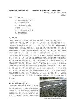 - 人工湿地による廃水処理について 廃水処理における省エネルギーと創