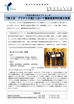 『第2回 プラチナ大賞』において審査委員特別賞を受賞(PDF