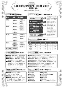 LOG HORIZON TRPG CHEAT SHEET