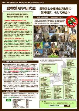 動物繁殖学研究室 動物園との絶滅危惧動物の 繁殖研究,そして保全へ