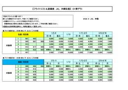 【フライトリスト&差額表 JAL 沖縄往復】 (01得デラ)