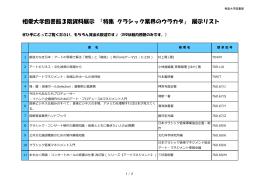 相愛大学図書館3階資料展示 「特集 クラシック業界のウラカタ」 展示リスト