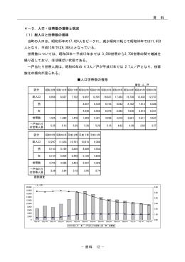 3-1.人口と世帯数の推移と現況 総人口と世帯数の推移