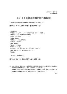 2015年4月映画営業部門興行成績速報
