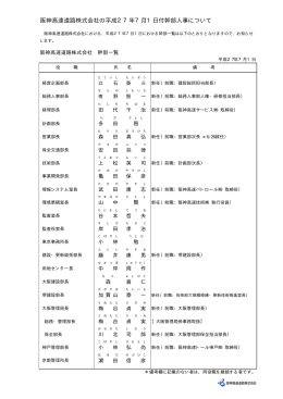 阪神高速道路株式会社の平成27年7月1日付幹部人事について