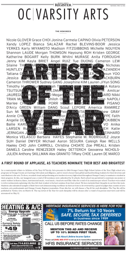 Artist of the Year Nominations - Santa Margarita Catholic High School
