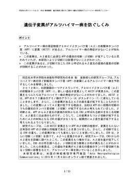 遺伝子変異がアルツハイマー病を防ぐしくみ [PDF 767KB]