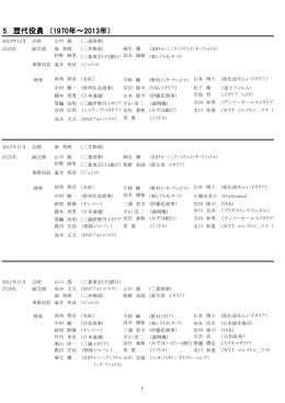 5. 歴代役員 (1970年~2013年)