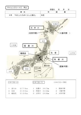 (十勝平野 ) 富士山 北 岳 信 濃 川 利 根 川 (石狩平野) (関東平野