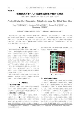 微粉砕廃ガラス入り低温焼成素地の実用化研究