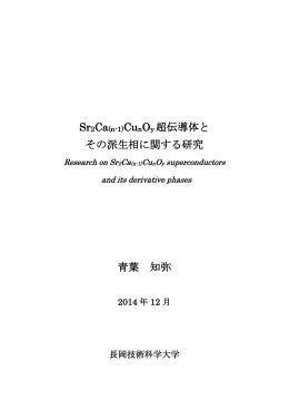 Sr2Ca(n-1)CunOy 超伝導体と その派生相に関する