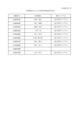 147E505E 勇上 和史 総合研究プログラム 学籍番号 指導教員 教育