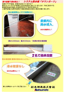 倉庫内に 雨水侵入。 浸水被害なし 2名で簡単設置