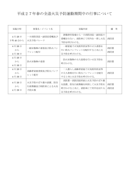 平成27年春の全道火災予防運動期間中の行事について