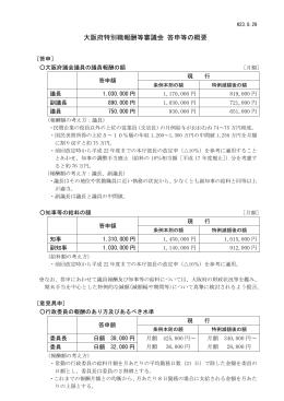 大阪府特別職報酬等審議会 答申等の概要