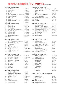仙台FDパル29周年パーティープログラム (案) 4/4現在