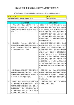 コメントの概要及びそれに対する金融庁の考え方(PDF:63KB)