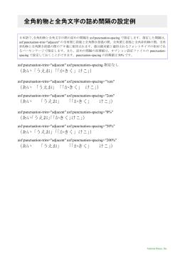 全角約物と全角文字の詰め間隔の設定例