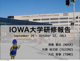 September 29 - October 12, 2013 高橋 賢成 (MASA) 外賀 裕次郎