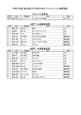 第26回川口市青少年ピアノコンクール結果